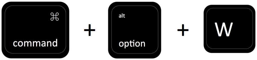 command + option + W