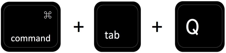 command + tab + Q