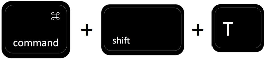 command + shift + T