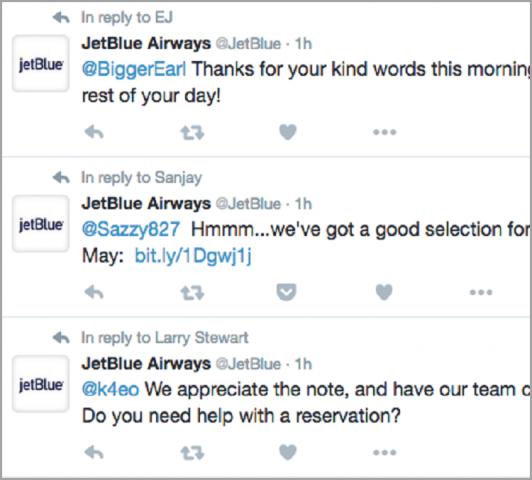 JetBlueのツイート対応