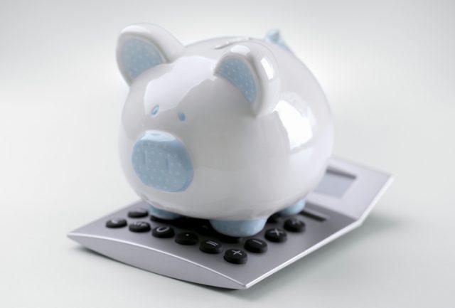 ブタの貯金箱 青色 電卓