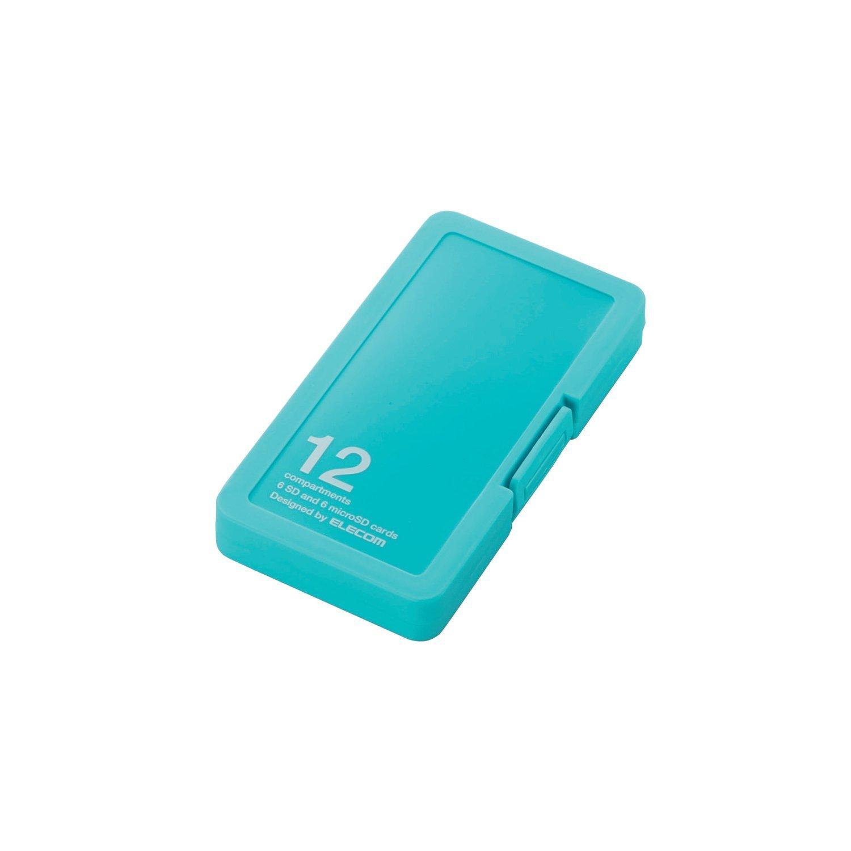エレコム メモリカードケース SD ケース プラスチック SD6枚 + microSD6枚収納 ブルー