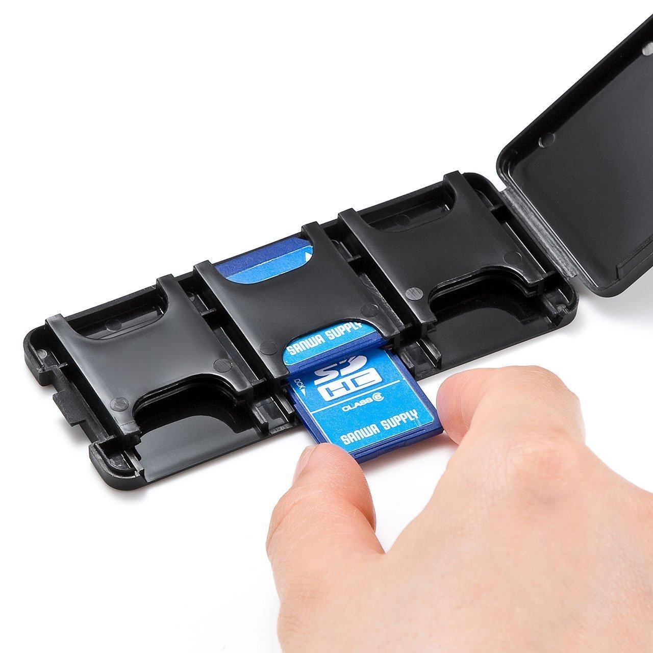 サンワサプライ SDカードケース(6枚収納・ブラック)