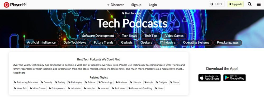 Player fm:Tech Podcasts